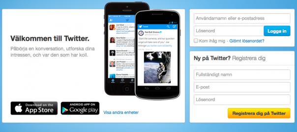 Inloggning på Twitters webbplats